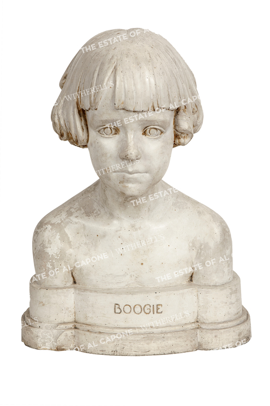 """Sonny Capone's Painted Plaster Portrait Bust of Diana """"Boogie"""" Casey Capone"""