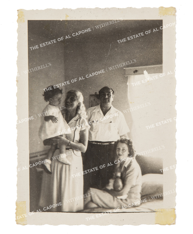 Vintage Gelatin Silver Print Photograph of Al Capone with Mae and Two Children