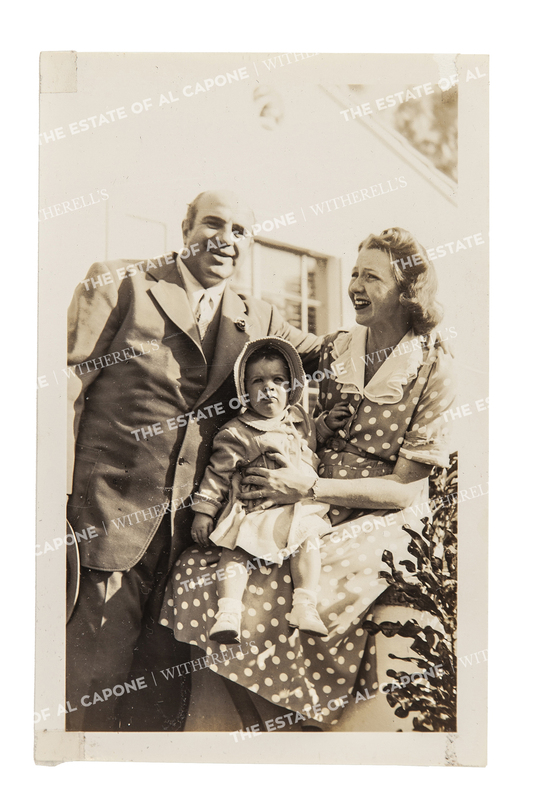 Vintage Gelatin Silver Print Photograph of Al Capone with Casey and Grandchild Ronnie