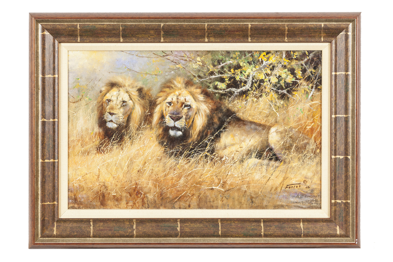 """Eric Forlee (b. 1949) Painting """"Two Lions"""""""