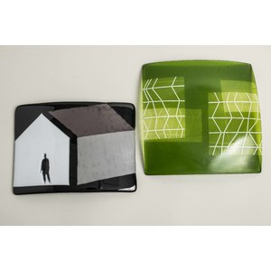 Two Art Glass Trays, Carol Lawton