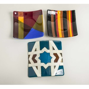 Three Art Glass Trays, Carol Lawton