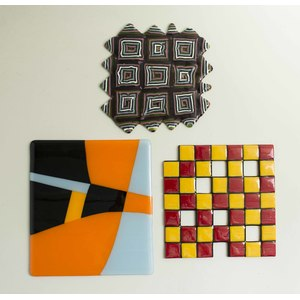 Three Art Glass Tiles, Carol Lawton