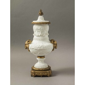 Sevres Style Covered Bisque Urn with Bronze Mounts