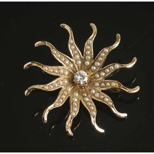 Diamond Pearl 14k Gold Brooch