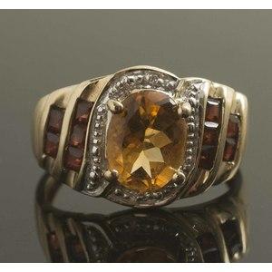 Citrine, Diamond, Garnet 10k Gold Ring