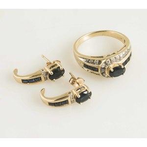 Sapphire Diamond 14k Gold Ring & Earrings