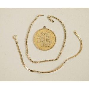 14k Kanji Pendant & Two 14k Bracelets