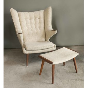 Papa Bear Chair and Ottoman, Attributed to Hans Wegner
