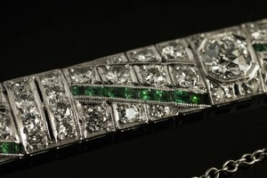 Lady's Platinum Diamond Emerald Bracelet