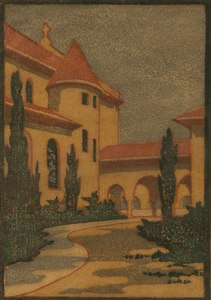 Elizabeth Norton Woodcut, California Mission