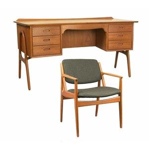 Svend  Madsen Teak Desk / Arne Vodder Tilt Lounge Chair