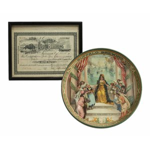 Buffalo Brewing Tray and Stock Certificate