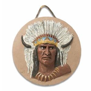 Astley D.M. Cooper Plaster of Paris Indian Chief Portrait
