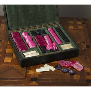 Cased Set of Pearl Gaming Chips