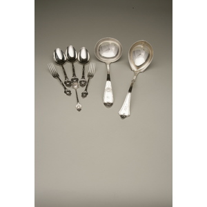 John W Tucker (1852-1886) Eleven Pieces of Medallion Silver Flatware