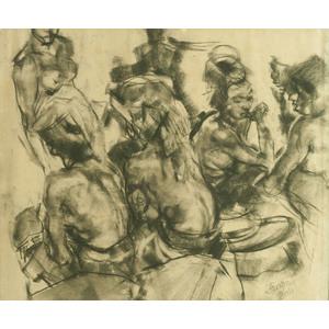Roland Strasser (Austrian, 1885-1974) Charcoal Study of a Balinese Dancer