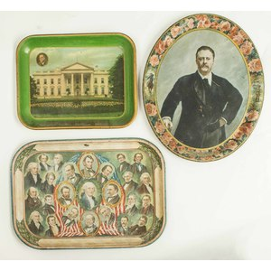 Three Presidential Themed Tin Lithography Trays