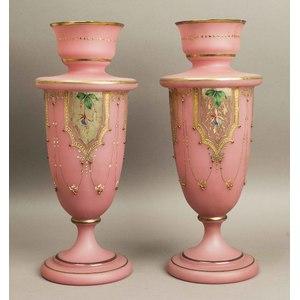 Pair of Enameled Glass Vases