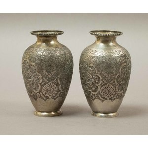 Pair of Persian Silver Vases, 11 Troy Oz.