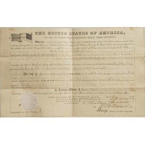 Abraham Lincoln/Stoddard Signed Land Grant, 1863