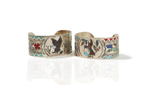 Two J.I. Livingston Inlaid Sterling Silver Cuffs