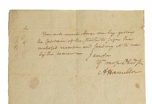 Alexander Hamilton Signed Revolutionary War Document, ca. 1782