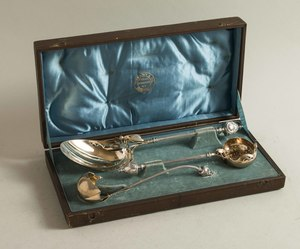 Three George B. Sharp Silver Serving Pieces