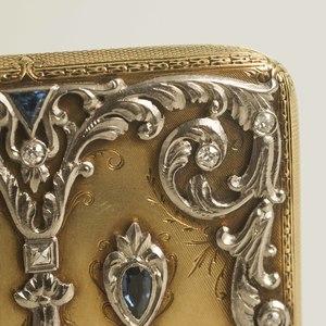 Diamond Sapphire 14k Gold Cigarette Case