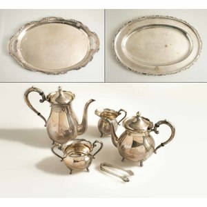 Boxed Sterling 5-Piece Tea & Coffee Service and 2 Boxed Trays, K.Uyeda (Japan) 196 ozt FR3SH