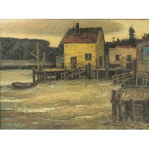 John Britton Matthew (California, 1896-1980) Painting, Dock Scene