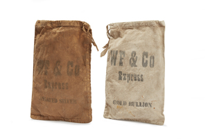 Two Wells Fargo Gold/Silver Cloth Bags
