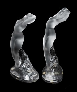 Two Lalique Clear and Frosted  Nude Figures