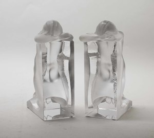 "Pair of Lalique Clear and Frosted ""Reverie"" Bookends"