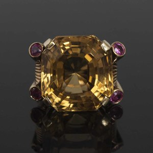 14k Citrine, Pink Sapphire and Diamond Ring