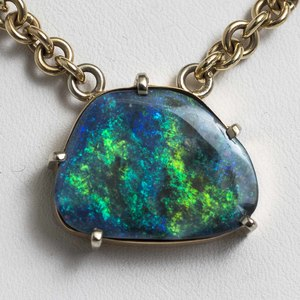 Black Opal 14k Pendant and Chain