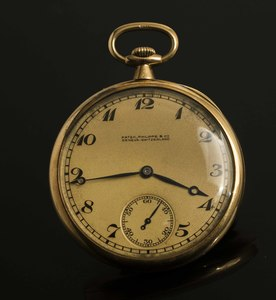 Patek Philippe 18kt Open Face Pocket Watch with Chain & Pocket Knife