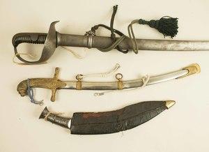3 Edged Weapons: Kukri, Spanish Saber, Shriner's Sword