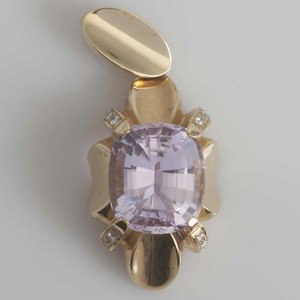 Large Kunzite, Diamond 14k Pendant