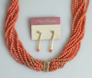 Coral Necklace & Earrings
