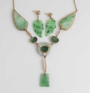 Jade and Diamond Necklace & Earrings