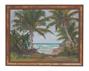 Horatio Nelson Poole (1884-1949) Painting, Hawaiian Coastal Scene, 1917