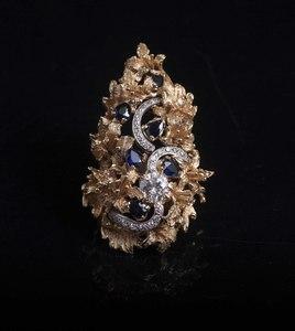 Large Diamond & Sapphire 18k Ring