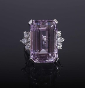 56 ct Kunzite & Diamond 14k RIng