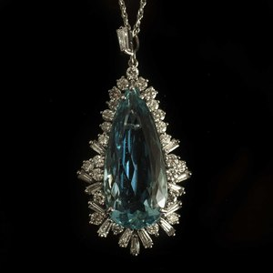 Aquamarine & Diamond 18k Pendant