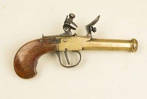 Flintlock brass barrel pocket pistol, Belgian made