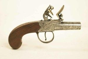 Flintlock turn-off barrel muff pistol by I.D. Wilbraham of London