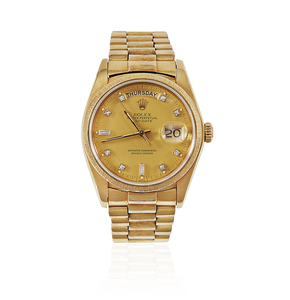 Rolex Mens Day-Date President Diamond Dial 18k Watch