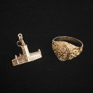 Gold Jewelry comprising 22K gold ring, 5.4 grams, and 18K charm