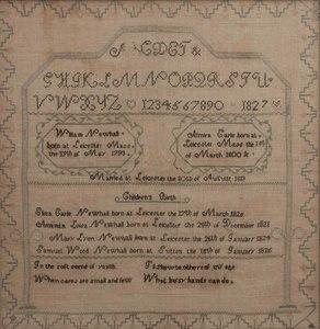 1827 Schoolgirl Sampler & Family Register